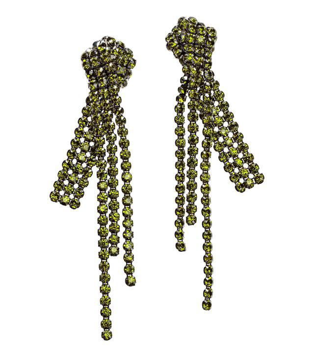 H&M Long Rhinestone Clip Earrings