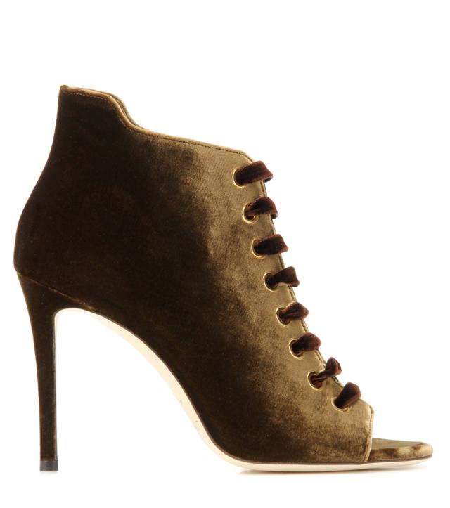 Mavy 100 peep-toe velvet ankle boots