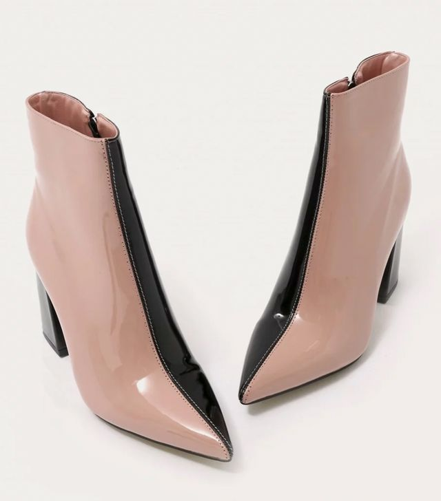 Public Desire Chaos Contrast Pointed Toe Ankle Boots