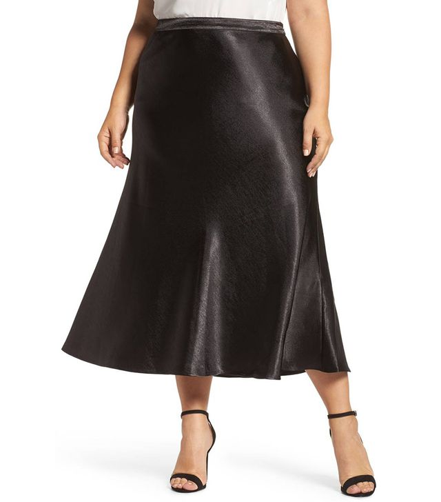 Hammered Satin Maxi Skirt