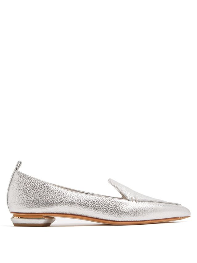 Beya Grained-Leather Loafers