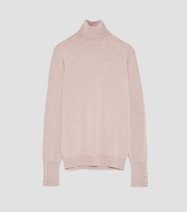 Zara Turtleneck Sweater with Pearl Buttons