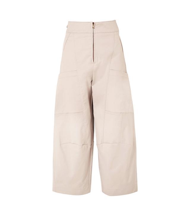 Cropped Stretch-Cotton Wide-Leg Pants