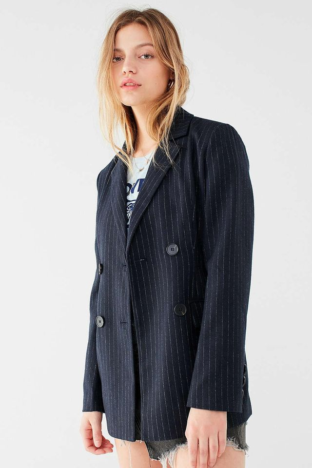 UO Pinstripe Double-Breasted Blazer