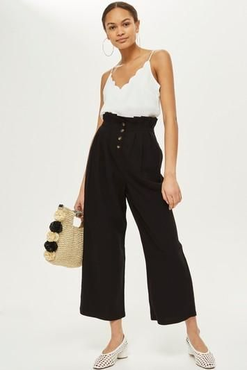 Cropped Button Up Trousers