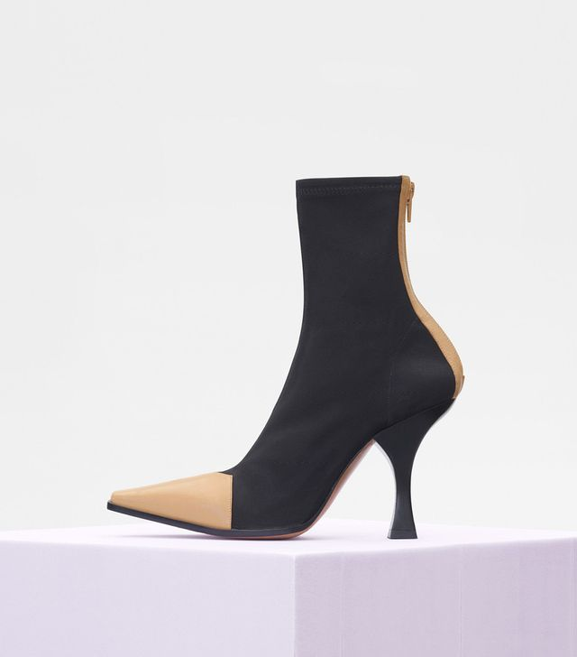 Celine Madame Ankle Boot in Calfskin and Grow Grain Stretch