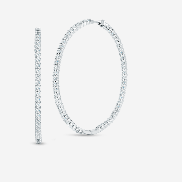 Roberto Coin XX Large Inside Out Diamond Hoop Earrings
