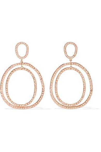 Again Double 18-karat Rose Gold Diamond Earrings