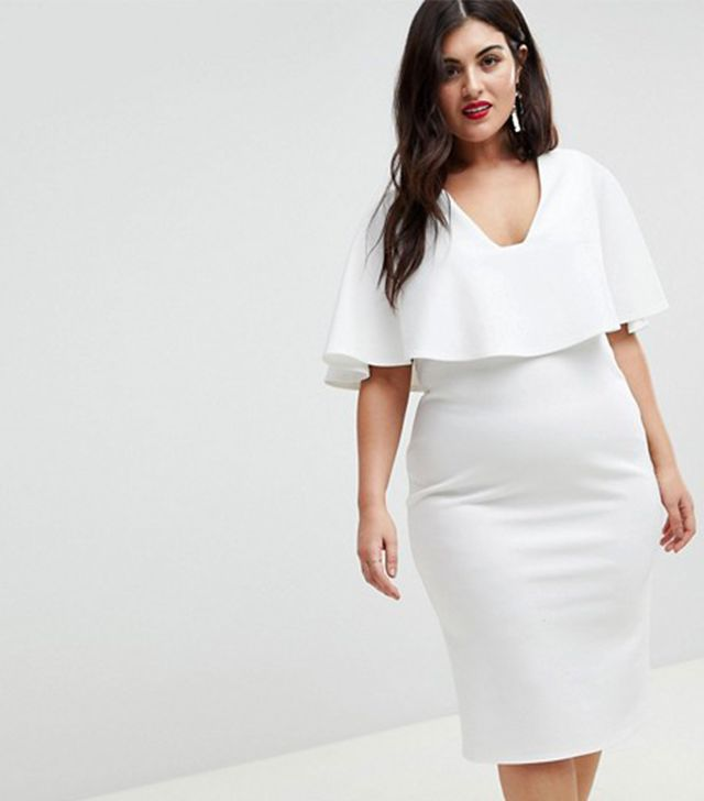 ASOS CURVE Cape Plunge Midi Bodycon Dress