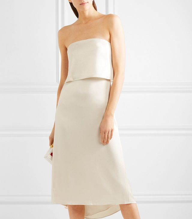 Tiered Satin Midi Dress