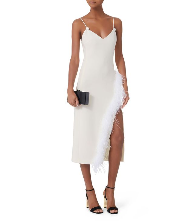 David Koma Cady Feather-Trimmed Midi Dress