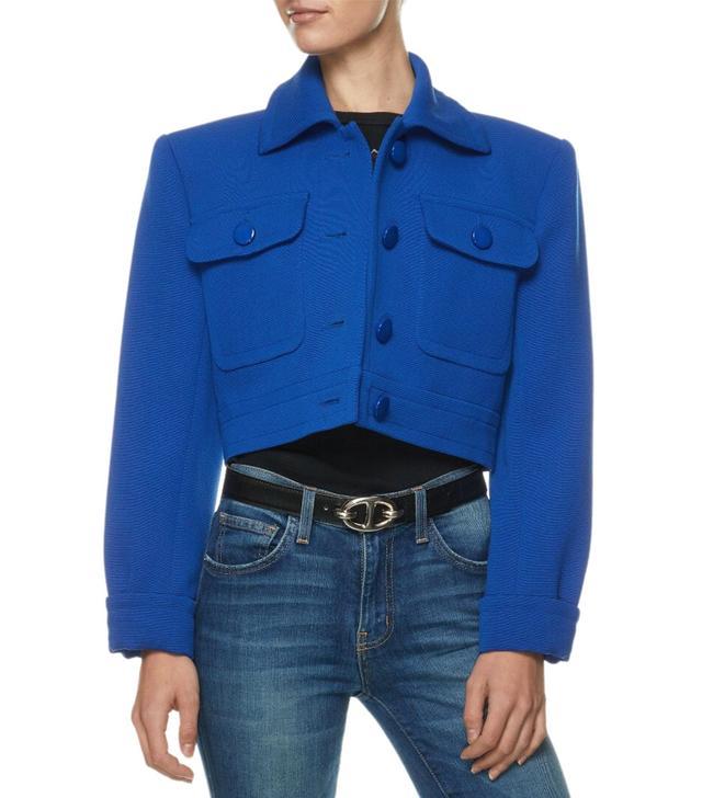 YSL Blue Ribbed Crop Blazer