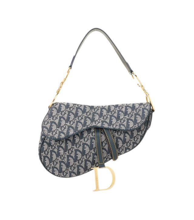 Christian Dior Navy Trotter Canvas Saddle Bag
