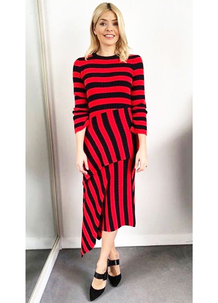 Holly Willoughby Stripe warehouse top and skirt: