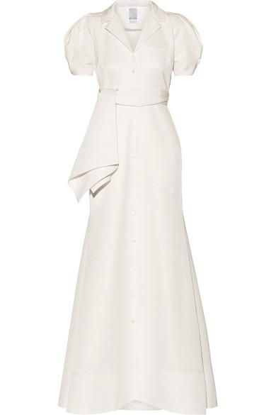 Belted Cotton-blend Faille Gown