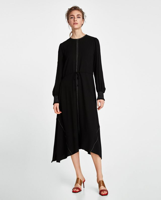 Zara Dress With Contrast Topstitching
