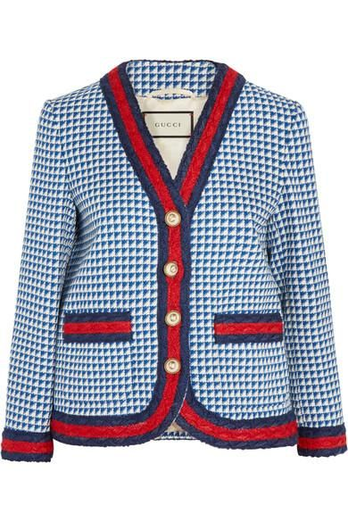 Striped Houndstooth Wool-blend Jacket