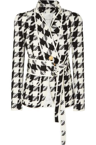 Belted Houndstooth Tweed Blazer