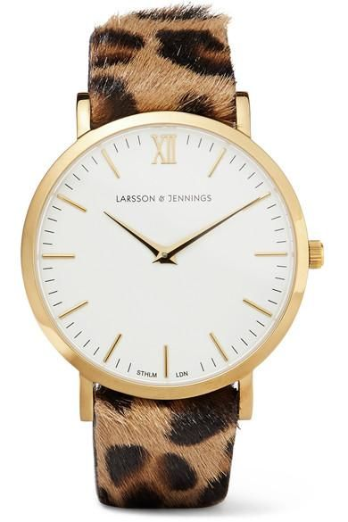 Lugano Leopard-print Calf Hair And Gold-plated Watch