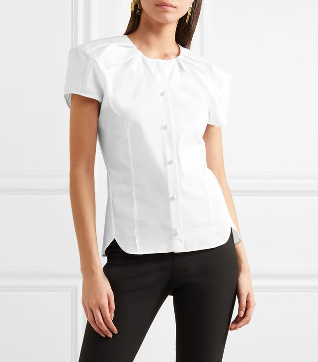 Tanya Gathered Cotton-poplin Blouse