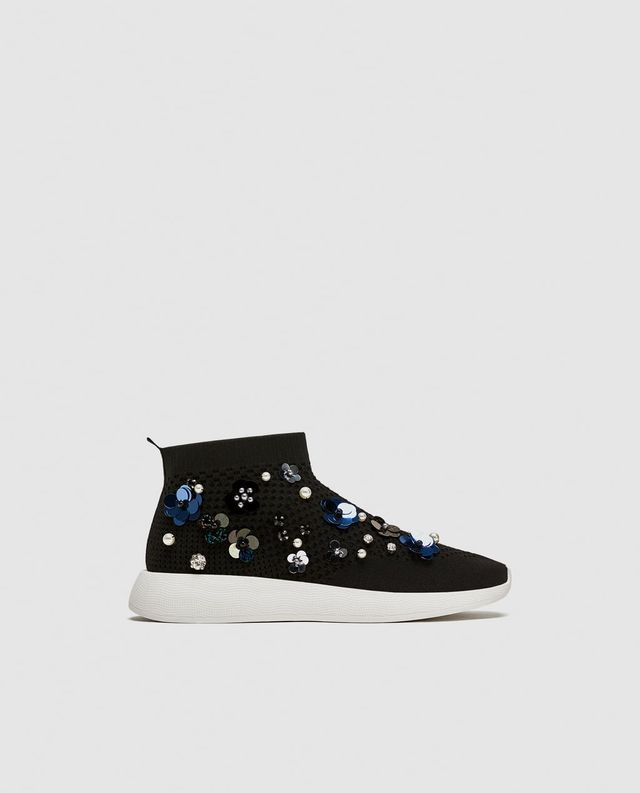 Zara Floral High-Top Sneakers