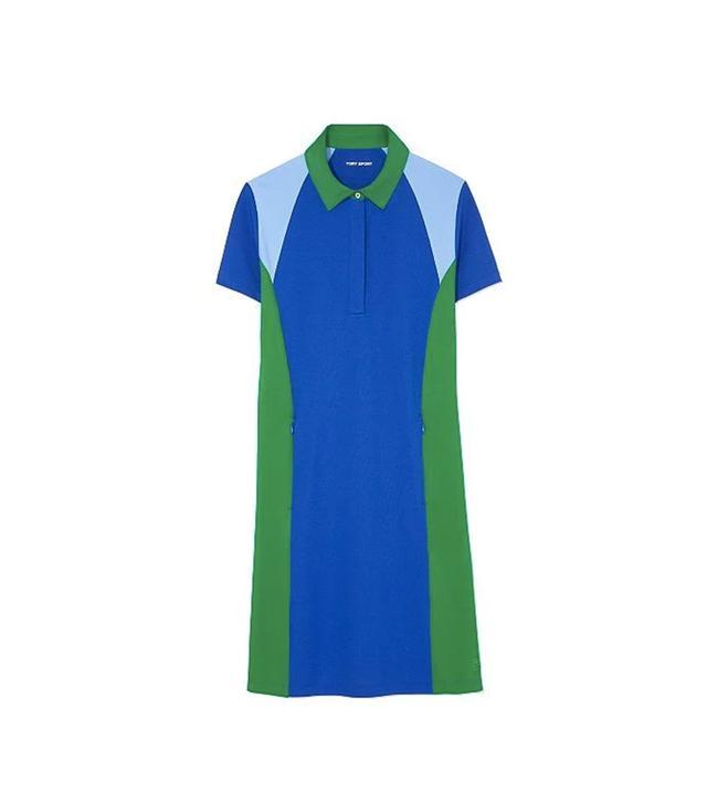 Tory Sport Color-Block Pique Polo Dress