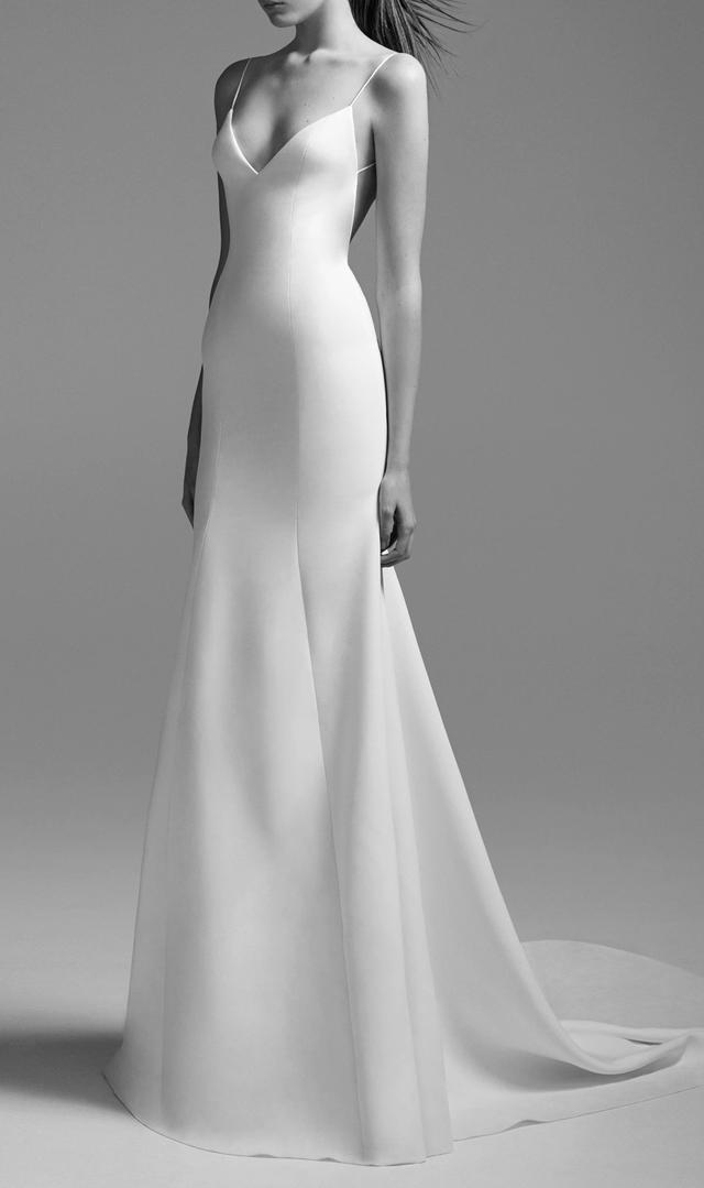 Simple wedding dresses whowhatwear au kristen satin bikini gown junglespirit Choice Image