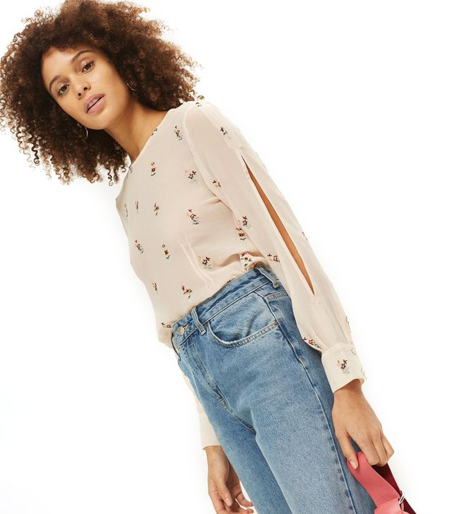 Embroidered Slash Sleeve Top