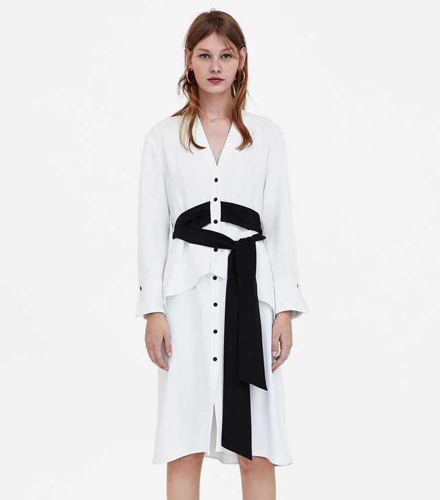 Zara Dress With Contrasting Belt