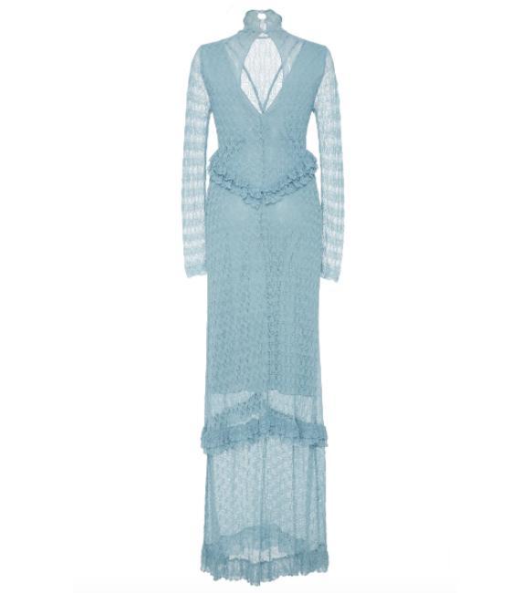 Long Sleeve Ruffled Fine Knit Lace Dress