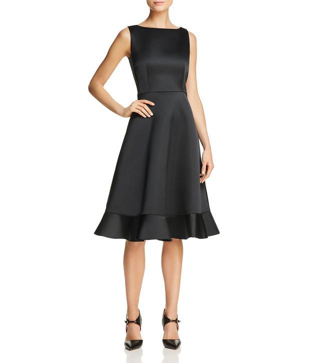 Ruffled-Hem Duchess Satin Dress