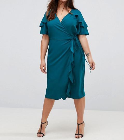 ASOS CURVE Midi Wrap Dress With Ruffle Sleeve