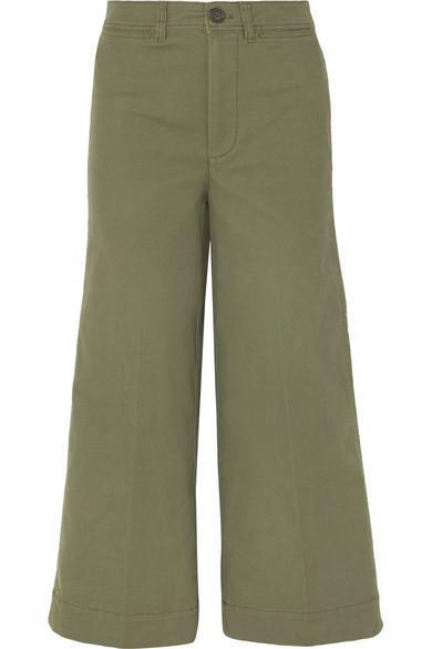 Langford Cropped Stretch-cotton Wide-leg Pants