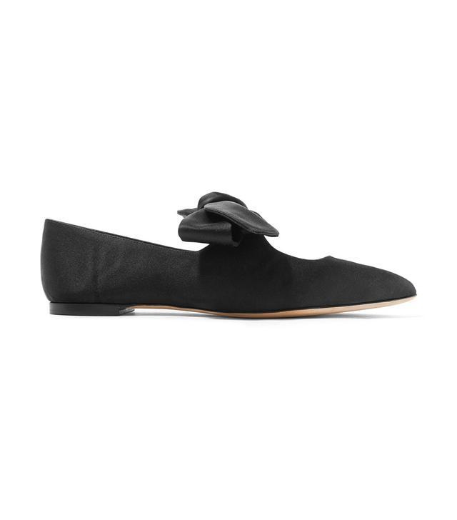 Elodie Bow-embellished Satin Ballet Flats