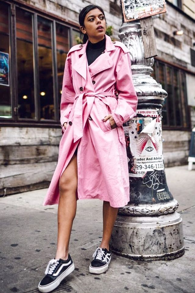 """Forget what you think you know about trench coats being limited to those with """"classic"""" style. In a playful shade of pink, the outerwearis fun and fresh. Shop her coat:NSF..."""