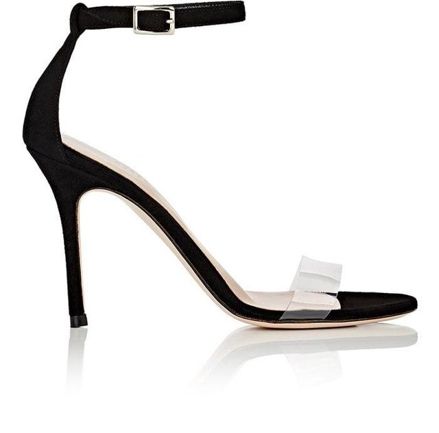 Women's Suede & PVC Ankle-Strap Sandals