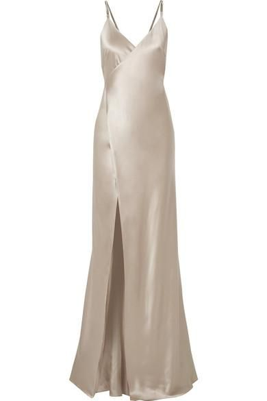 Chain-embellished Silk-charmeuse Wrap Gown