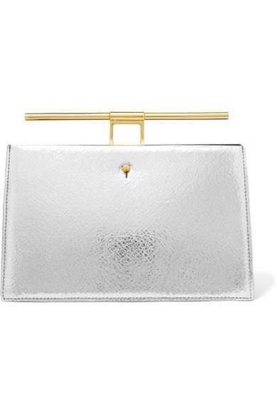 Chateau Mini Metallic Cracked And Textured-leather Clutch