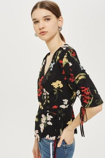 Floral Ruched Sleeve Wrap Blouse