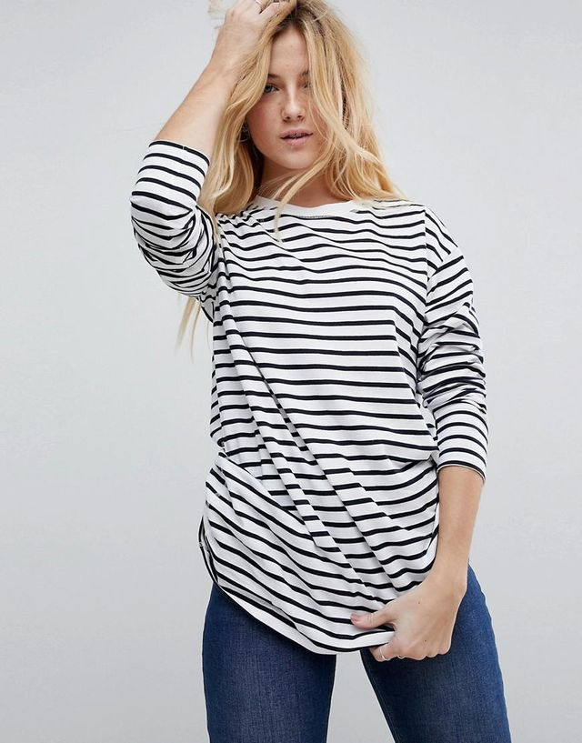 Stripe T-Shirt with Long Sleeve in Oversize Fit