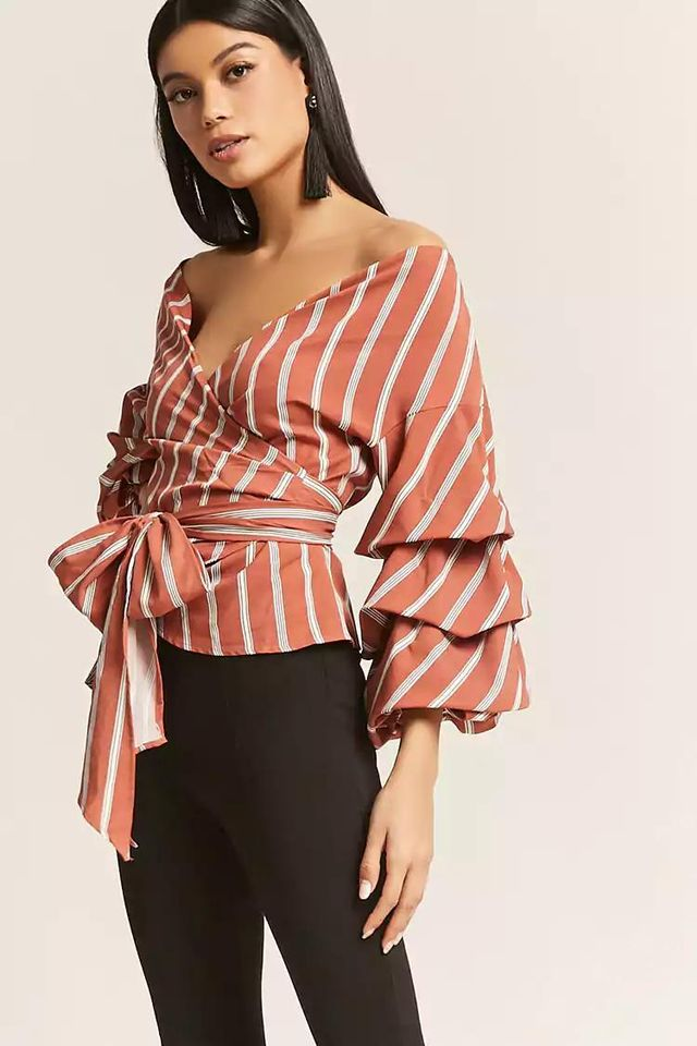 Stripe Surplice Wrap Top
