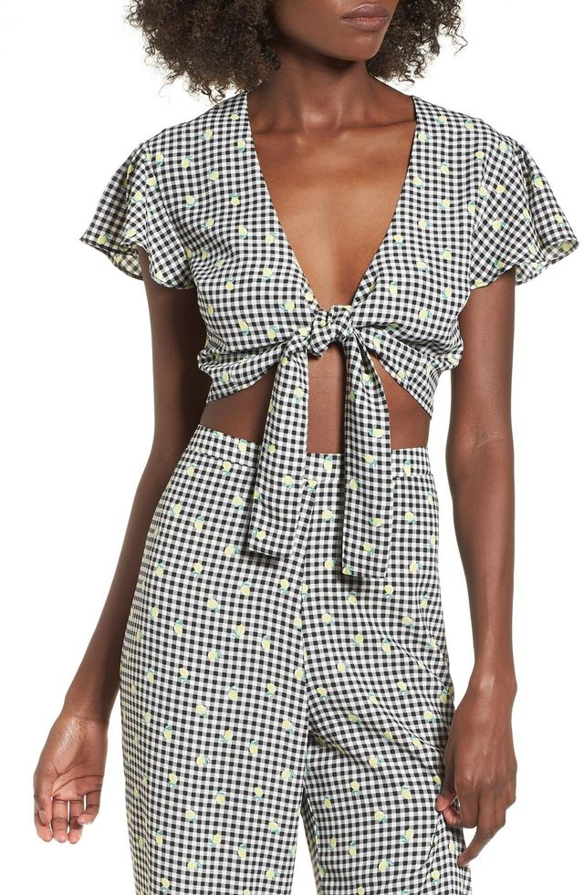 Gingham Tie Front Crop Top
