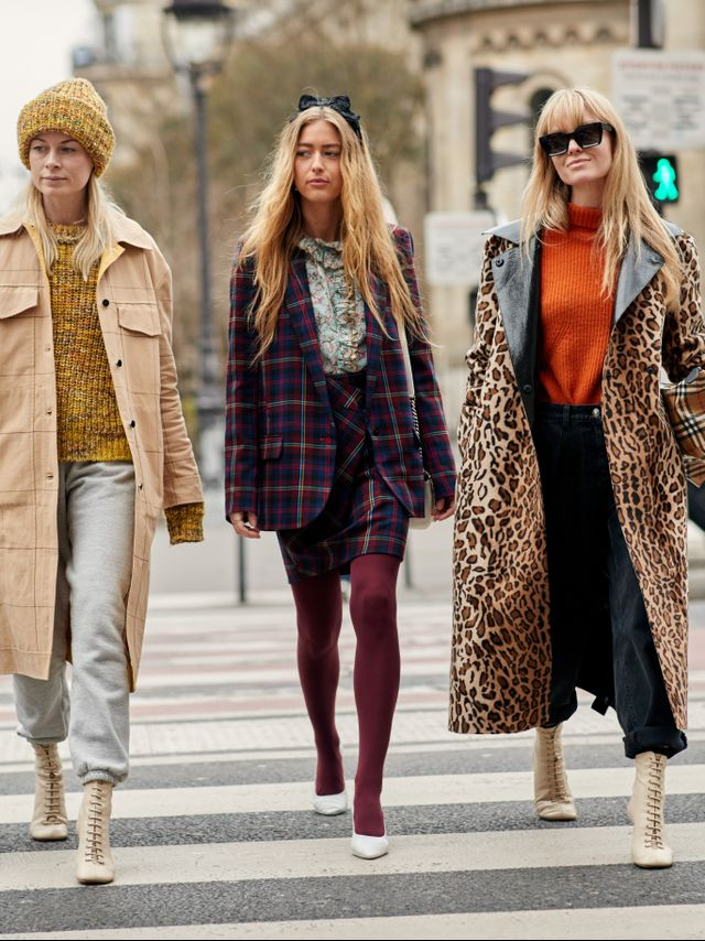 If you're wearing a patterned outfit, try picking one of the accent colors and coordinate them with your tights to really make it pop.