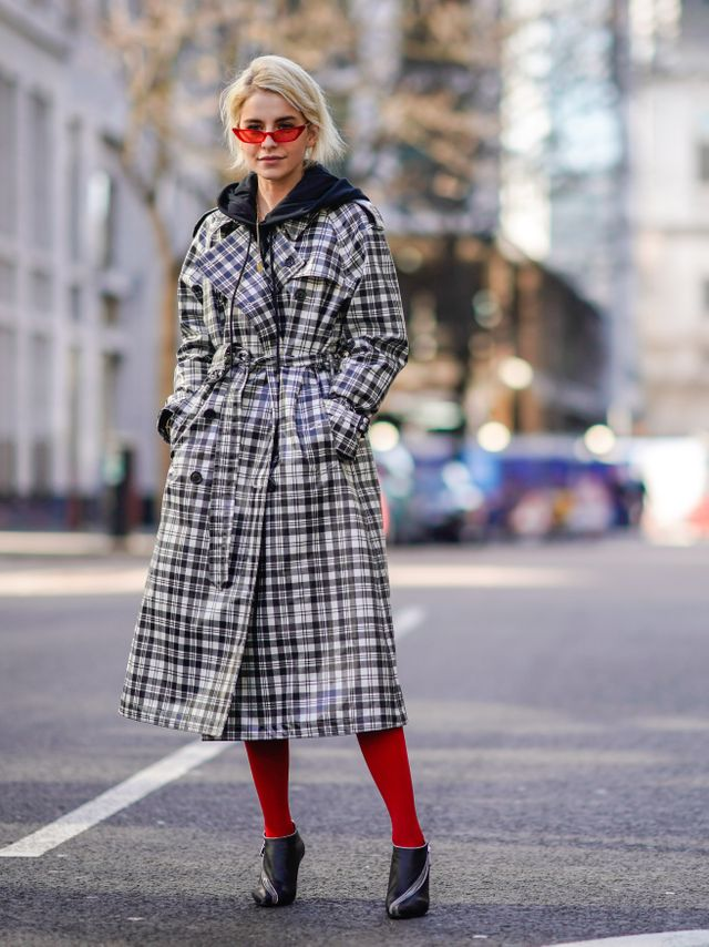 Let your tights be the accent color of an otherwise neutral outfit. Want more? Coordinate them with accessories like your sunglasses..