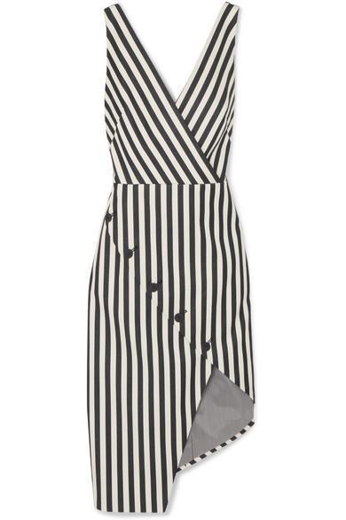 Marceau Asymmetric Striped Cotton-blend Dress
