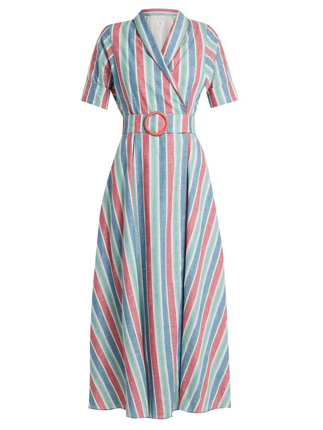 Shawl-collar striped cotton-blend dress