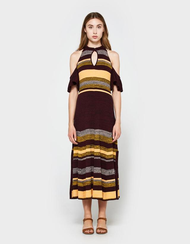 Knit Cold Shoulder Dress in August Sky Stripe