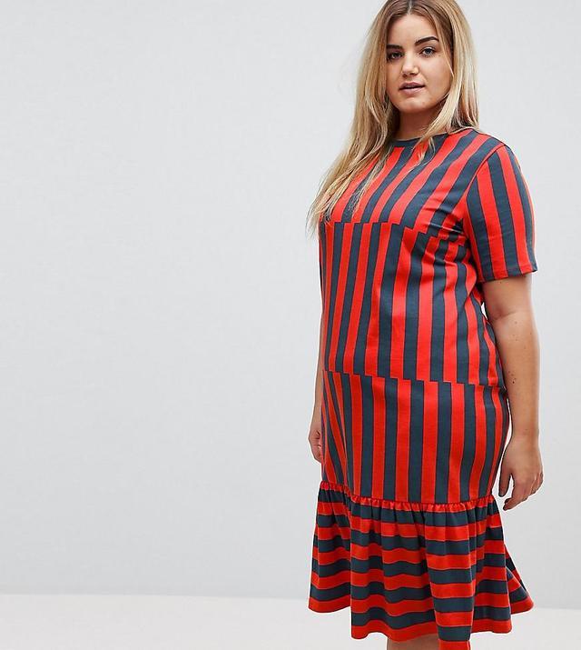 ASOS CURVE Midi Block Stripe T-Shirt Dress