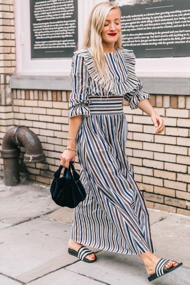Ruffled striped dress with sandals