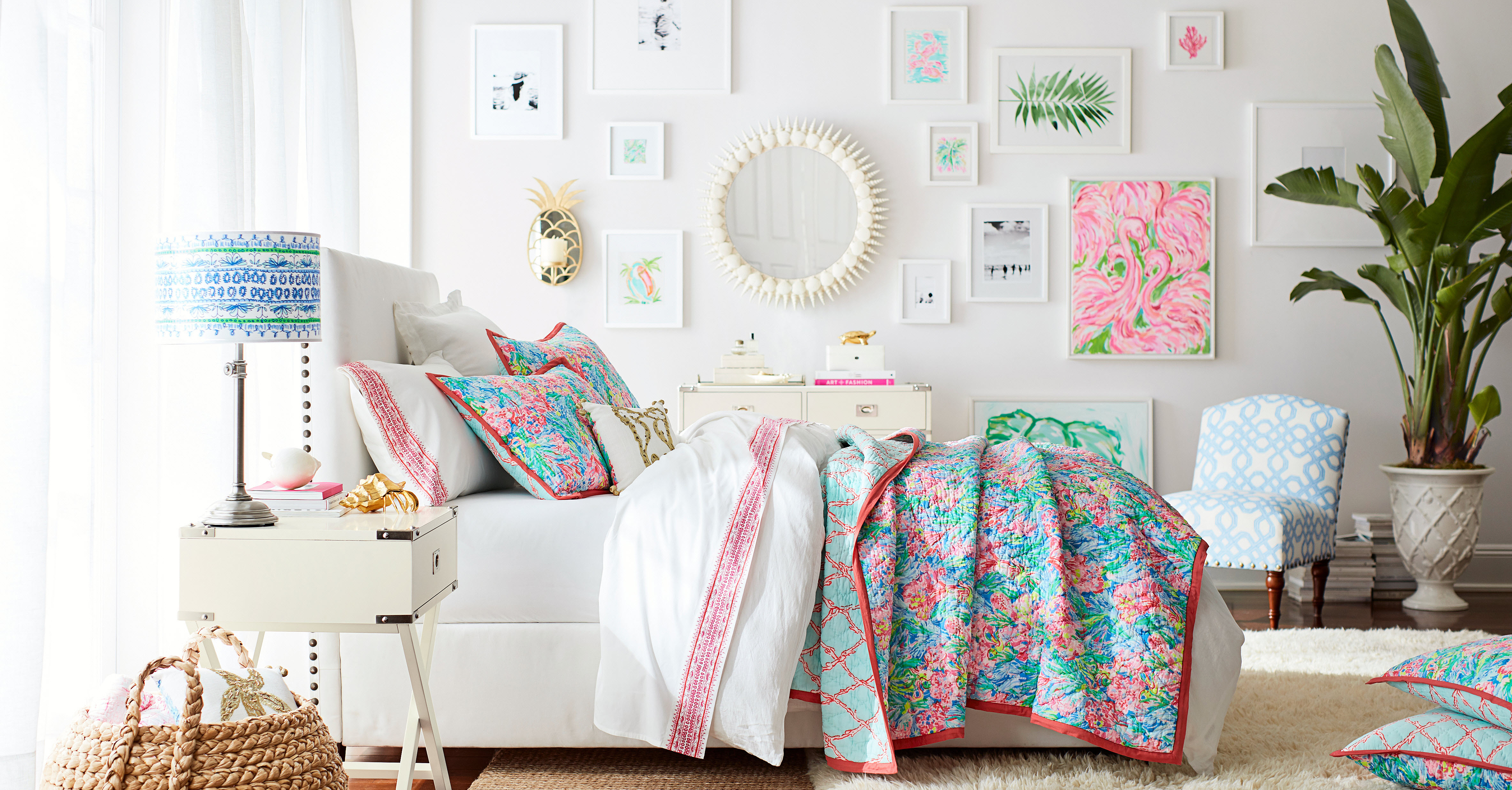 home beach the palm beauty pottery barn bed for reviews inspired bedding prints pulitzer lilly nm